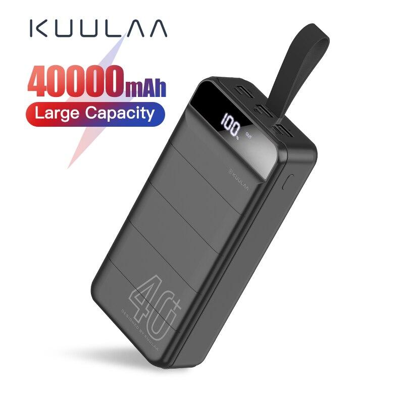 KUULAA banco de energía 40000 mAh cargador portátil 40000 mAh USB PoverBank cargador de batería externo para Xiaomi Mi 9 8 iPhone