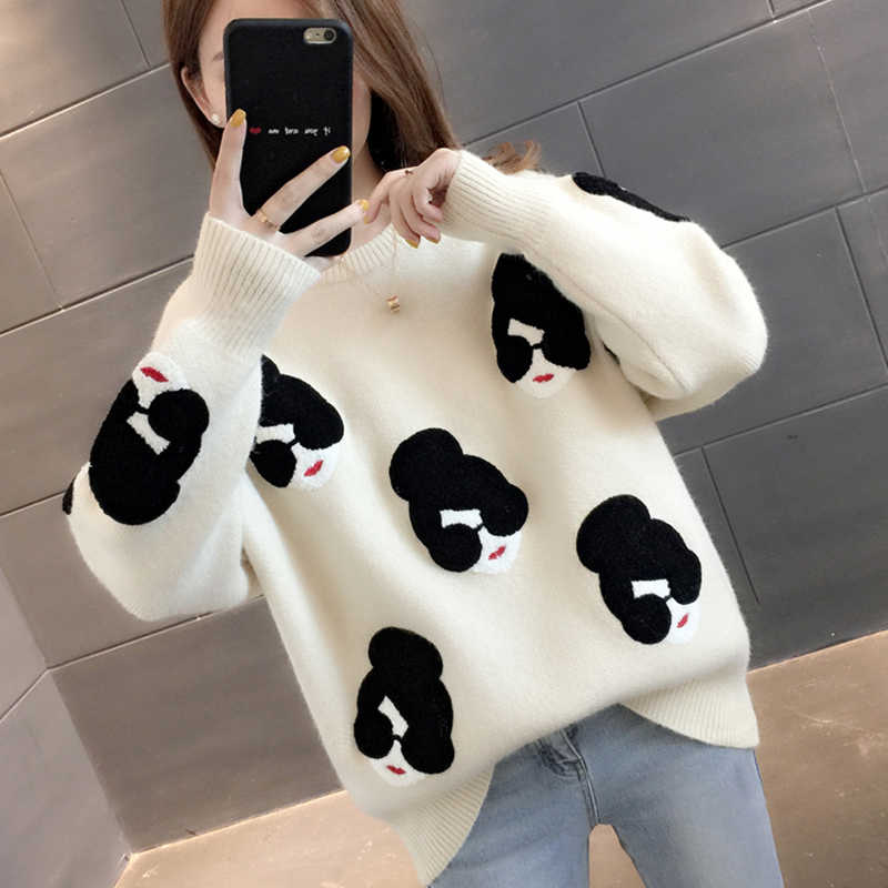Paris Mädchen Pull Femme Winter Herbst Übergroßen Gestrickte Pullover Frauen Laterne Hülse Stickerei Cartoon Verdicken Pullover Jumper