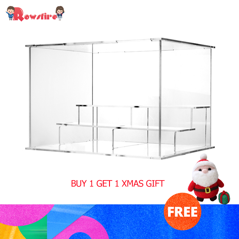 Acrylic Display Case Countertop Box Stand Dustproof Protection Showcase For Action Figures Toys Collectibles+1 Xmas Gift