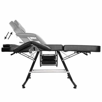 "70"" Adjustable Beauty Salon SPA Massage Tattoo Bed Equipment Black with Two trays"