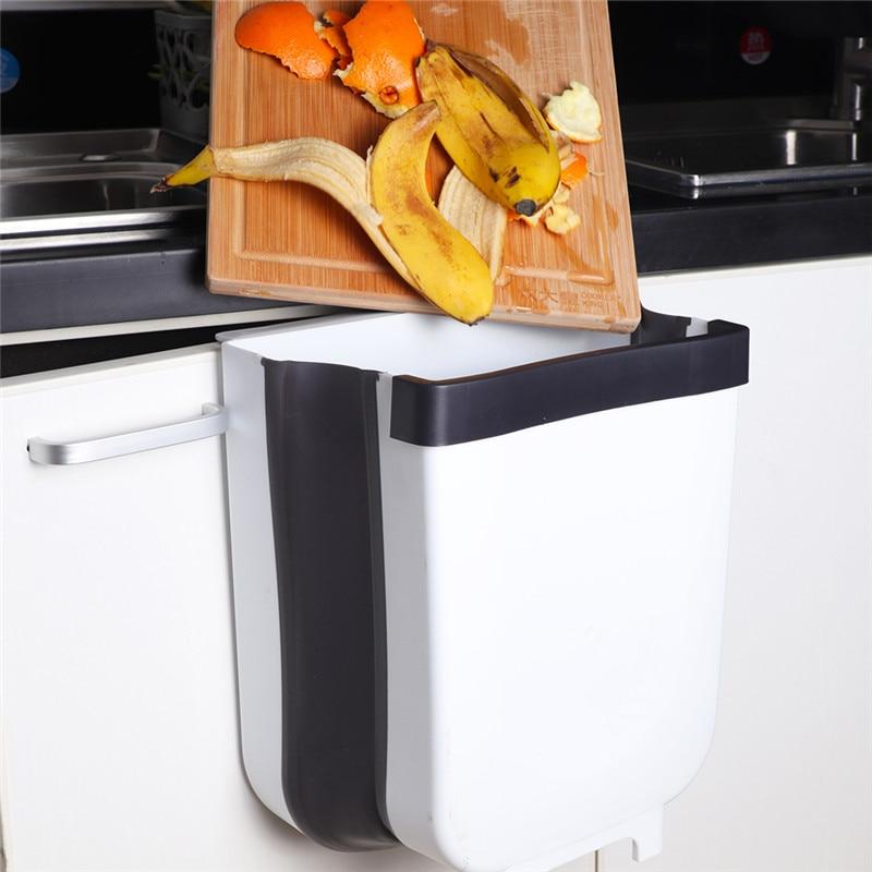 US $7.98 62% OFF|Kitchen Hanging Trash Can Wall Mounted Folding Waste Bin  Kitchen Cabinet Door Hanging Trash Bin Khaki Portable Trash on AliExpress