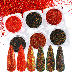 6 Colors Nail Glitter Powder Flame Red Holographic Nail Art Pigment Sandy Sequins Flakes Dust Manicure Decorations Set TR1539-15