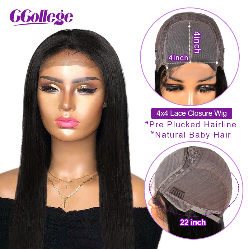 4x4 Lace Closure Wig 100% Human Hair Wigs Brazilian Straight Hair Closure Wigs Pre Plucked Lace Wig With Baby Hair Non Remy