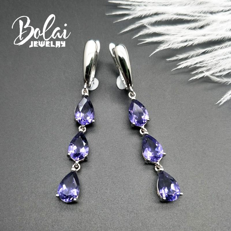 Bolaijewelry, 925 은색 귀걸이 나노 탄자니아 배 6*9mm, 여성을위한 우아한 디자인 파인 쥬얼리 매일 착용-에서귀걸이부터 쥬얼리 및 액세서리 의  그룹 2