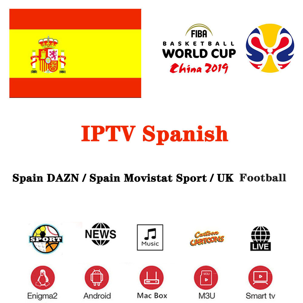1 Year Europe IPTV Spain Abonnement DAZN MOTO GP FHD Movistar Sport Football For Smart TV BOX IPTV Smarters X96 MiNi Android IOS