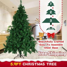 180cm Artificial Christmas Tree with Holder Base For Home Party Christmas Decoration Green Miniature Tree