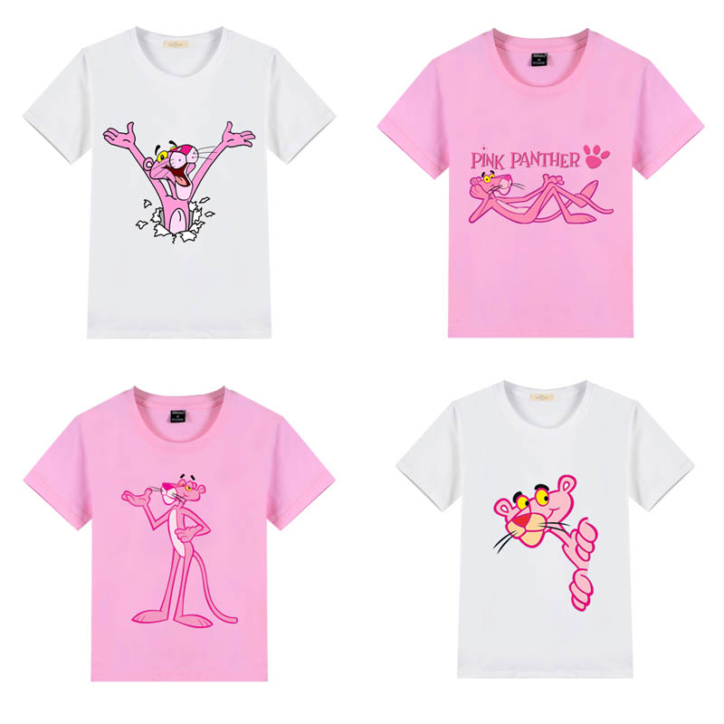 Новинка 2021, стильные повседневные футболки с коротким рукавом для маленьких мальчиков и девочек, розовые и белые футболки с принтом Пантеры...