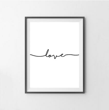 Love Word Art Black and White Poster Wall Art Canvas Painting Prints Inspirational Wall Modern Home Decor The Wall Pictures
