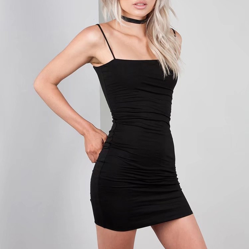 Black Sexy Dress Spaghetti Strap платье Female High Waist Sheath Club Dresses For Women Short Summer Mini Sleeveless Vestidos 1