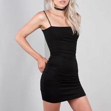 Vestido corto femenino de verano sin mangas con tirantes finos, minivestido Sexy de cintura alta para mujer, color negro