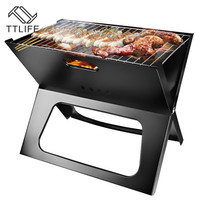 TTLIFE Folding Charcoal Barbecue Grill BBQ Portable Thicken X type Carbon Mini Grill Vertical Household Outdoor Oven Camp Grills