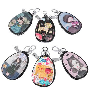 1 Pc moda Cartoon kobiety futerał na klucze dziewczyna studenci skórzany portfel na klucze etui na klucze do breloki na kluczyki do samochodu pokrywa nowy piękny klucz Holder tanie i dobre opinie CN (pochodzenie) Unisex 0inch key bag