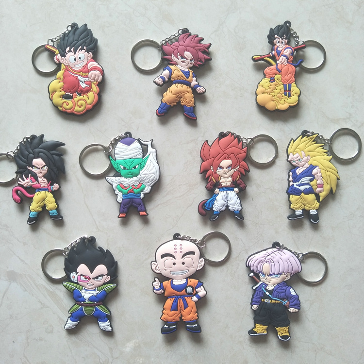<font><b>10</b></font> teile/los Anime <font><b>Dragon</b></font> <font><b>Ball</b></font> Keychain Sohn Goku Trunks Majin Buu Piccolo abbildung PVC anhänger Zubehör doppelseitige schlüssel ring image