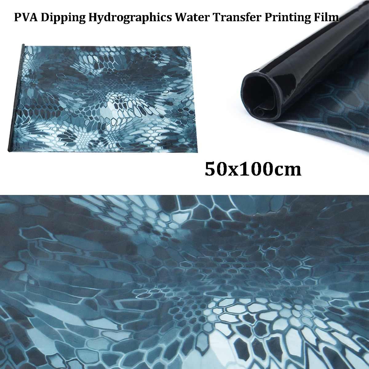 50x150cm Blue PVA Hydrographic Film Water Transfer Printing Film Hydro Dip Style Decals Stickers
