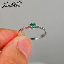 Кольцо из стерлингового серебра 925 минималистичные обручальные кольца женские зеленые фиолетовые Хрустальное сердечко любовь тонкие кольца для Женское Обручальное украшение