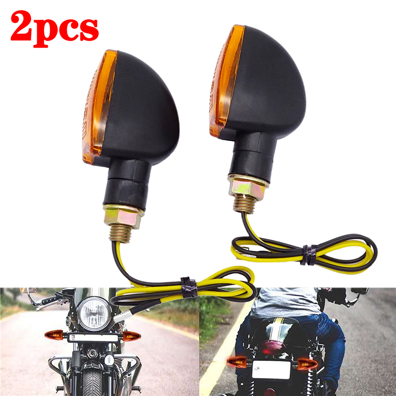 2 Pcs Universal Motorcycle Turn Signal Indicators Light Amber Flashers Lighting Motorbike Lamp Super Bright custom tail light