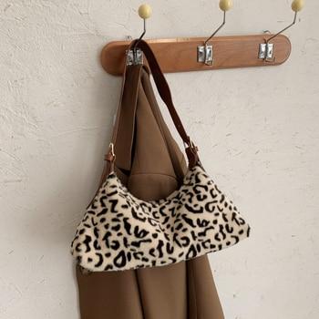 Women Winter Leopard Zebra Print Small Baguette Handbag Soft Plush Underarm Pack Fluffy Tote Bag 2020 Women  Single Shoulder Bag