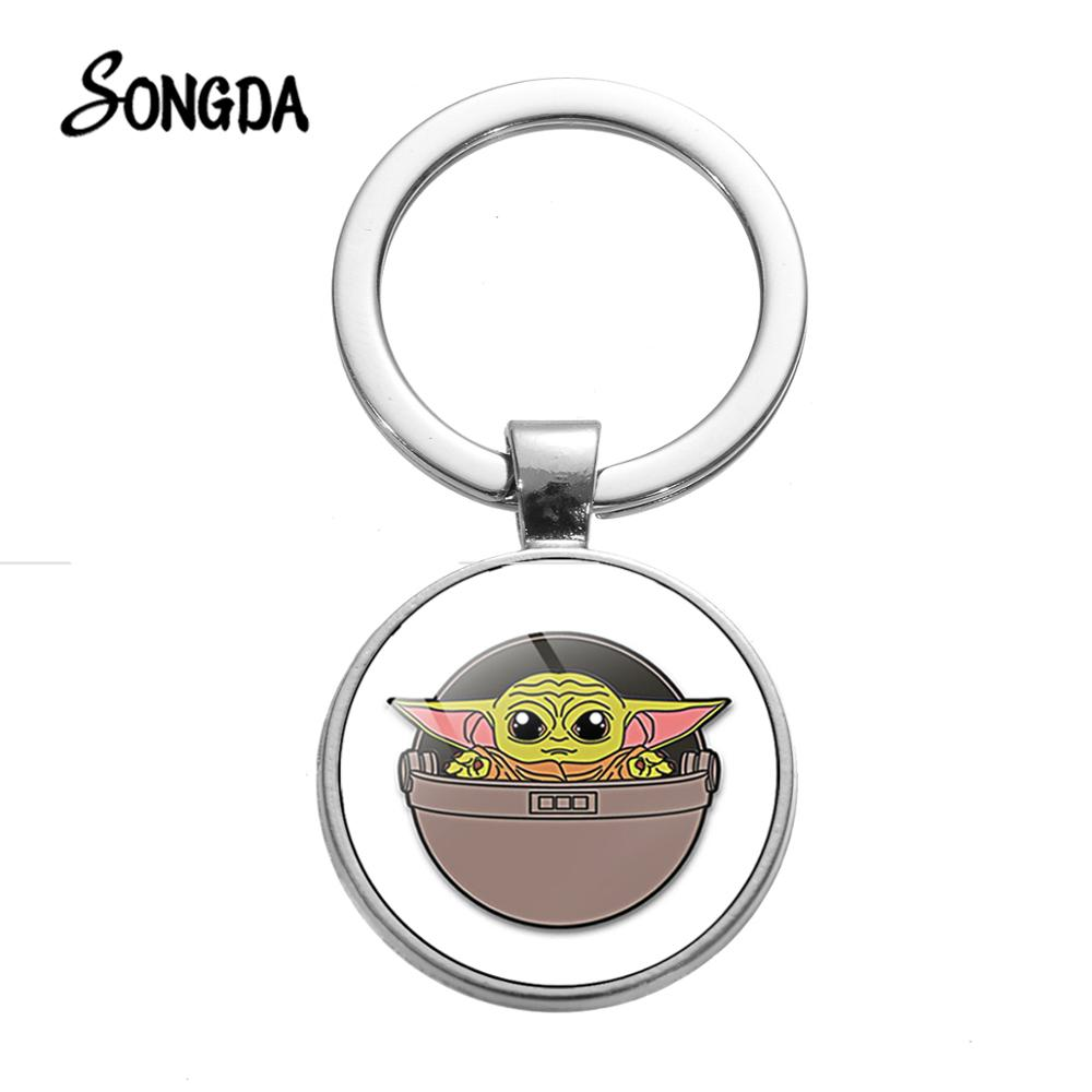SONGDA Cute Funny Baby Yoda Keychain The Mandalorian Movie Theme Poster Glass Dome Silver Color Pendant Key Ring Chain For Kids
