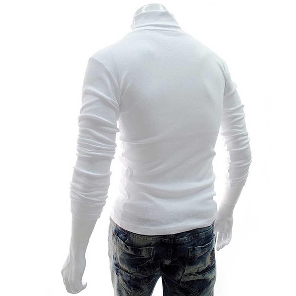 뜨거운 남자 가을 겨울 솔리드 컬러 거북이 목화 풀오버 얇은 바닥 셔츠