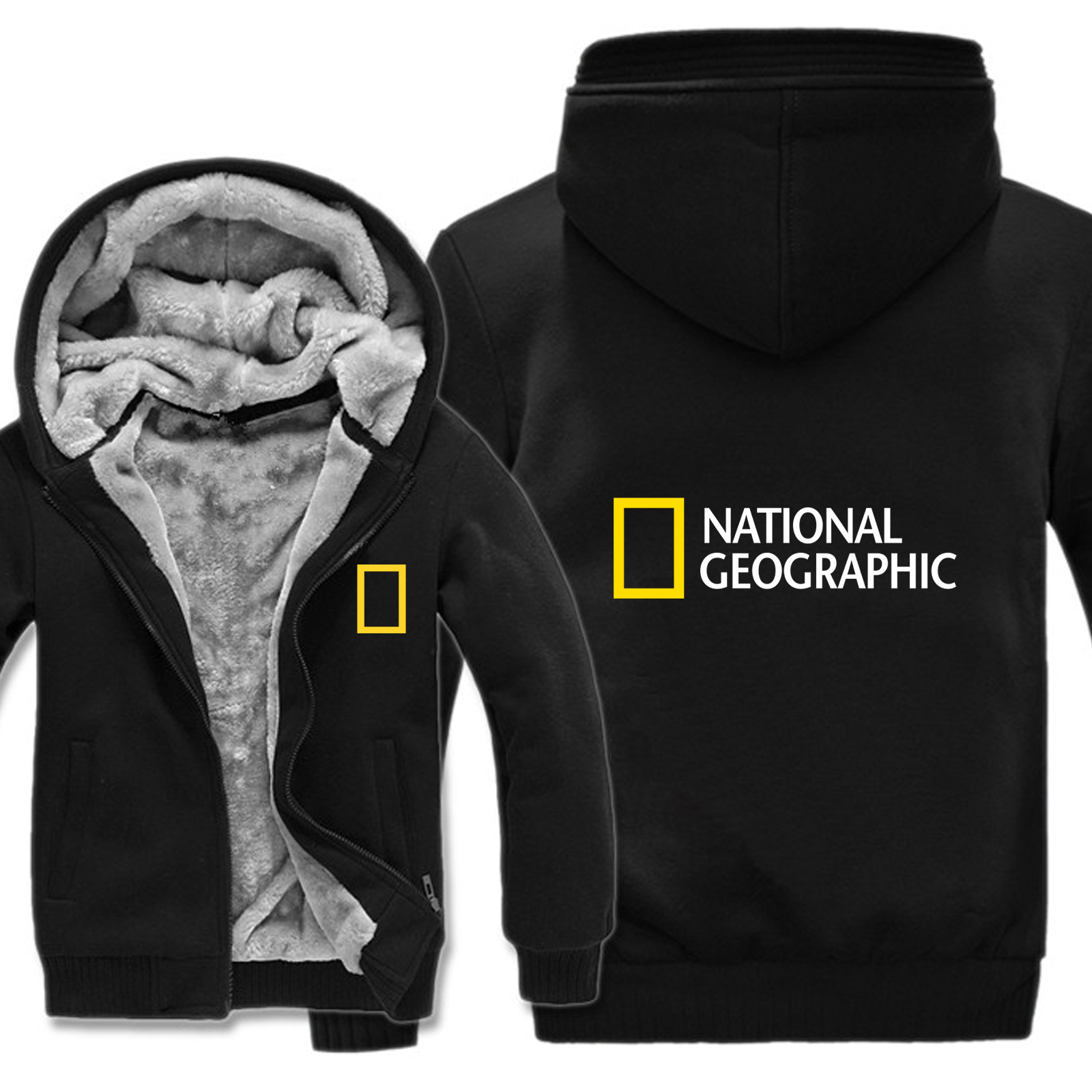 National Geographic Channel Hoodies Winter Men Fashion Wool Liner Jacket National Geographic Sweatshirts Men Coat