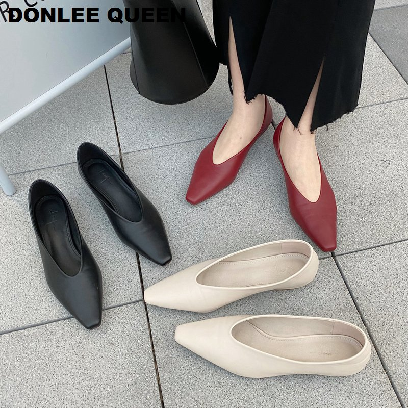 2020 New Spring Flats Ballerina Shoes Women Fashion Brand Square Toe Flat Ballet Shoe Female Casual Slip On Loafer Zapatos Mujer