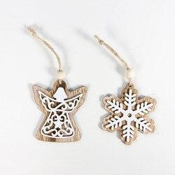 2pcs New Year 2020 Gift Natural Wooden Christmas Tree Pendants Christmas Ornaments Decorations for Home Adornos De Navidad 2019 6