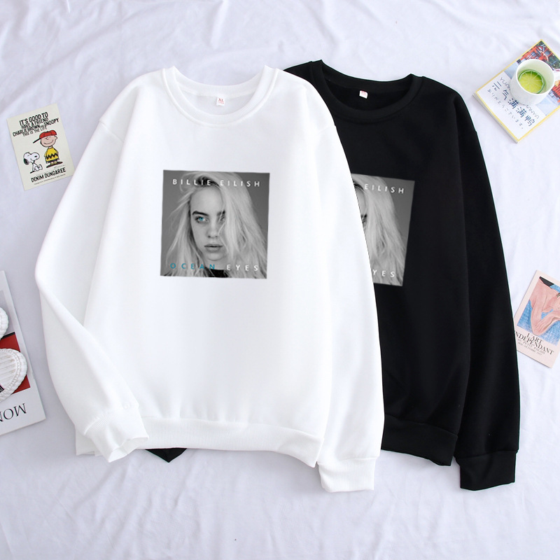 Europe And America Hotspots Hot Sales Bilie Eilish Europe And America Singer Plus Velvet Round Neck Sweater Loose-Fit Ouma
