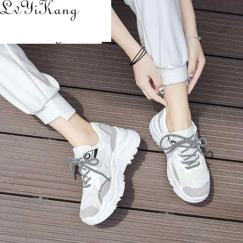 Giày Nữ 2019 Thời Trang Tenis Feminino Bố Nền Tảng Chun Lưới Sneaker Thoáng Mát Cho Người Phụ Nữ Casual Giày Sneaker Trắng Zapatillas