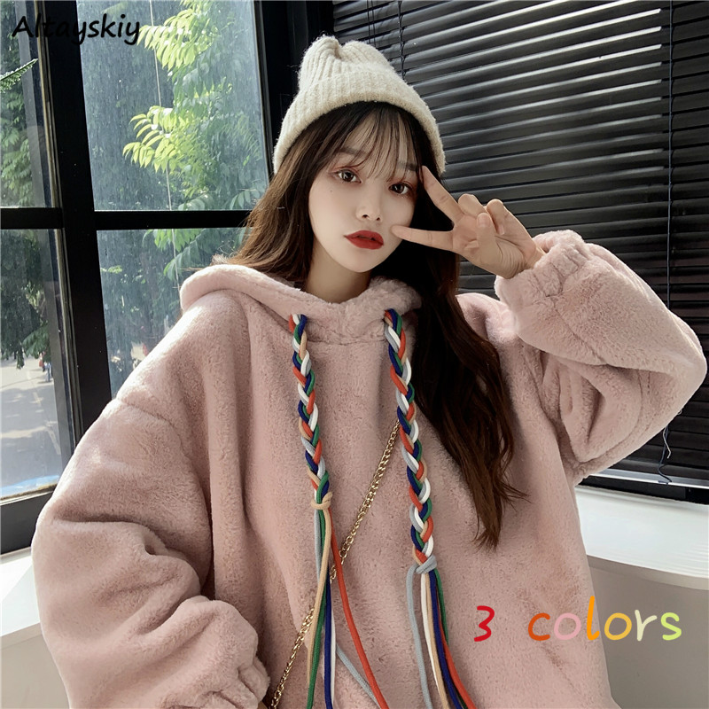 Hoodies Women Plus Velvet Thickening Kawaii Japanese Style Rainbow Drawstring Loose 2XL Girls Sweet Pink Soft High Quality Chic