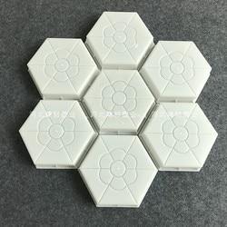 Plastikowe kostki brukowe 3D sześciokąt kwiat na betonowa ściana łupek kamienny płytki do dekoracji ogrodu dekoracje ścienne 12.5x5cm