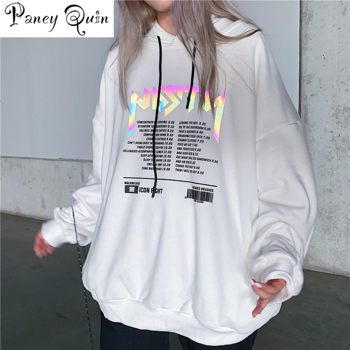 Reflective Letter Print Sweatshirt Hoodies WOMEN Korean Casual Pullover Cotton Oversized Hoodie Streetwear For Girls