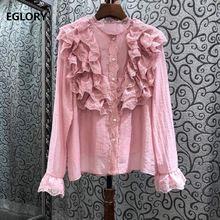 Женская блузка с каскадными оборками Элегантная Шелковая хлопковая