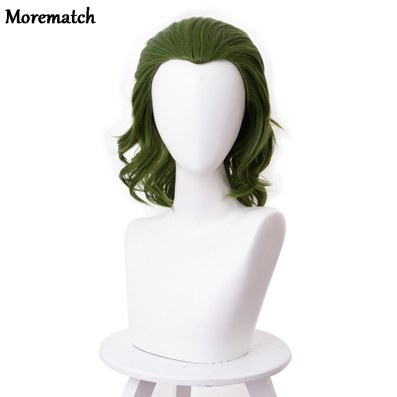 Morematch Movie Pennywise Joaquin Phoenix Arthur Fleck Clown Batman Joker Wig Cosplay Curly Green Synthetic Hair Wig + Wig Cap