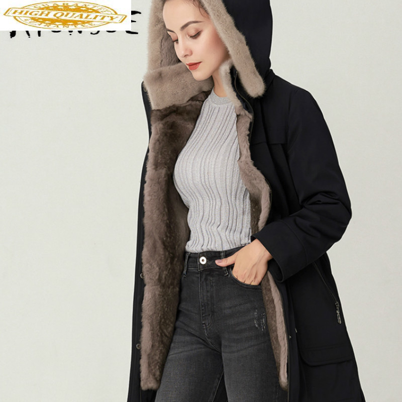 Real Fur Coat Women Mink Fur Collar Hooded Rex Rabbit Fur Coat Winter Coat Women Real Fur Warm Parka TJ-S-3188 YY1571