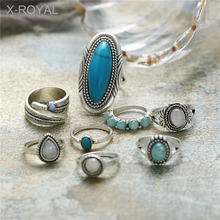 X-ROYAL 8Pcs/set Vintage Style Female Fashion Pine Stone Jewelry Rings European Antique Silver Alloy Water Drop Finger