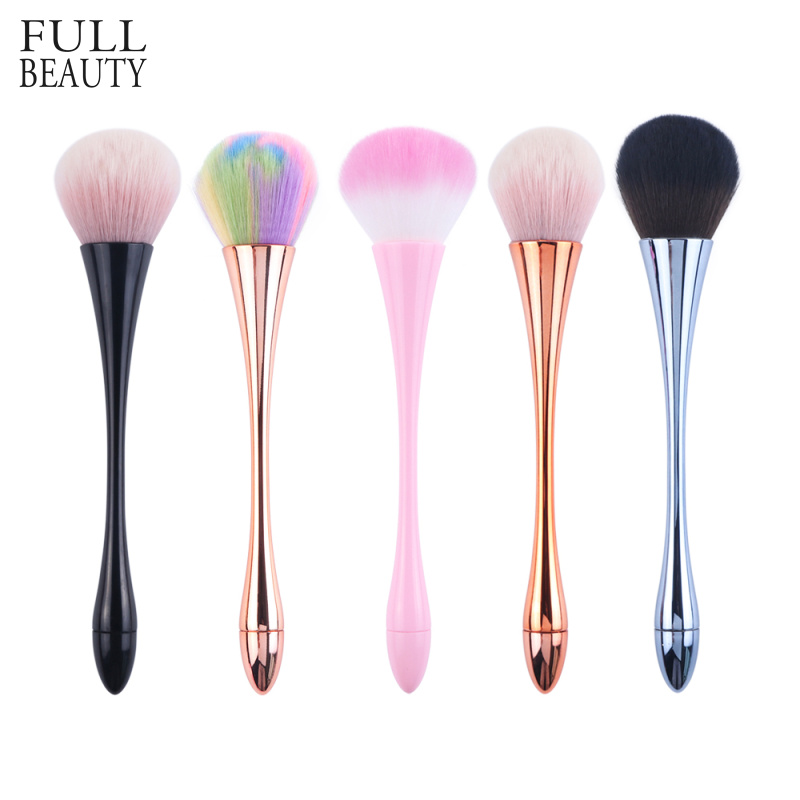 1pcs New Cleaning Nail Brush Rose Gold Soft High Quality Nail Dust Glitter Remover Acrylic Handle Manicure Makeup Tools CH949