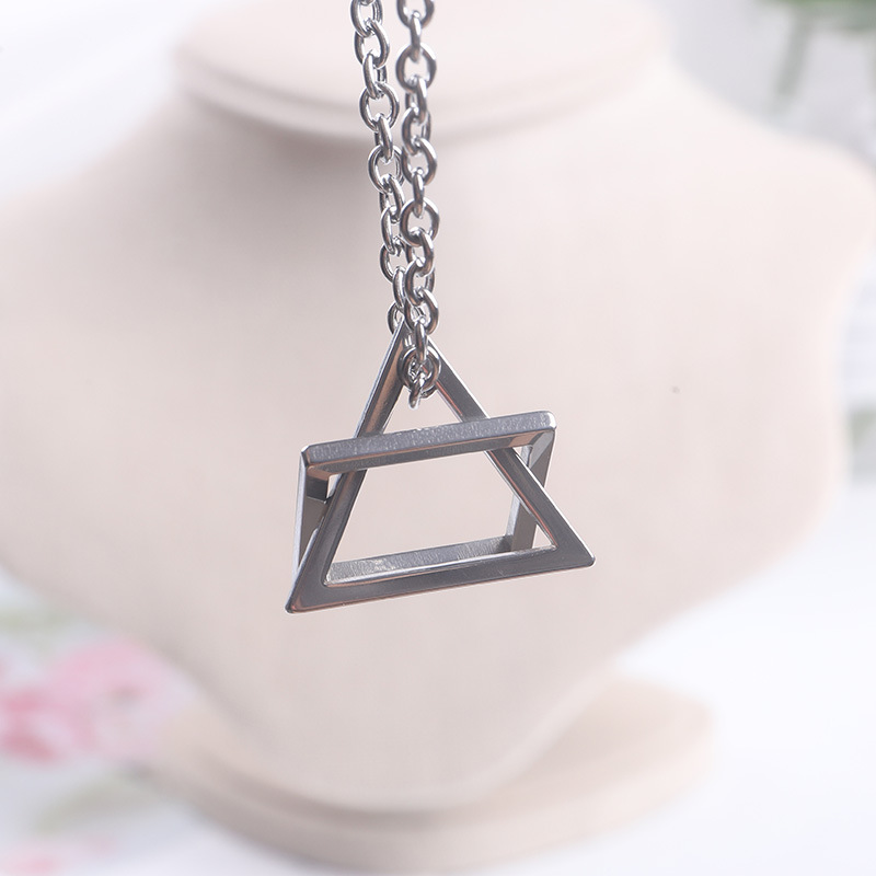 Stainless Steel Hollow Triangle Square Pendant Necklace Minimalist Geometric Necklace Unisex Kpop Fashion Punk Jewelry BTS-236