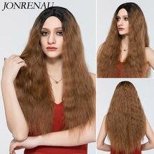 Jonrenau longo encaracolado omber preto marrom para brown perucas naturais parte do meio perucas sintéticas de alta temperatura cabelo para preto