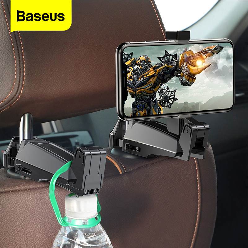 Baseus Back Seat Car Holder For IPhone Xs Max Xr X 2in1 Backseat Hook Car Mount Holder For Samsung S10 S9 Plus Car Phone Holder