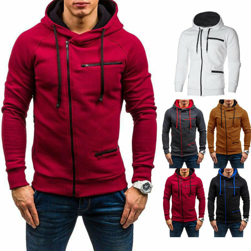 UK Men Autumn Winter Hoodie Sweatshirt Gym Jacket Hooded Zip Up Pullover Jumper Coat Outwear