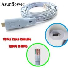 Asunflower 10Pcs USB Type C rj45 Console Cable Adapter For Windows 8/7 Vista MAC Linux Cisco Extension usb c console cable