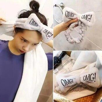 OMG/ободок с бантиком для лица из кораллового флиса с надписью для женщин и девочек, повязки на голову, повязки для волос