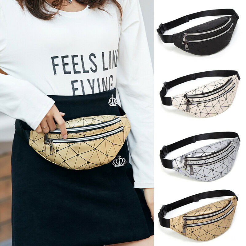 Laser Womens Waist Fanny Pack Belt Bag Chest Pouch Travel Hip Bum Bag Small Purse Girl Travel Money Belt Wallet Glitter Bum Bag