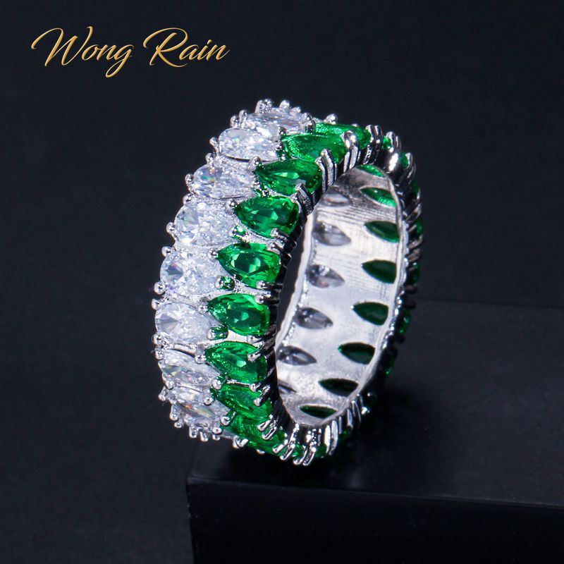 Wong Rain 100% 925 Sterling Silver Created Moissanite Emerald Sapphire Gemstone Wedding Engagement Ring Fine Jewelry Wholesale