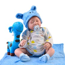 55 cm soft Silicone Reborn Baby Doll With Cotton Body Bebe Reborn Doll real closed eyes twins toy for children Christmas gift