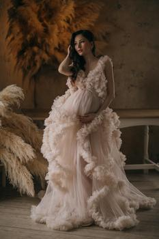 цена на Merryu 2020 V-neck Photography Dress Ruffles Wedding Dress Long    Tulle Evening Dress  High low Ruffles Sleeves  Party dress