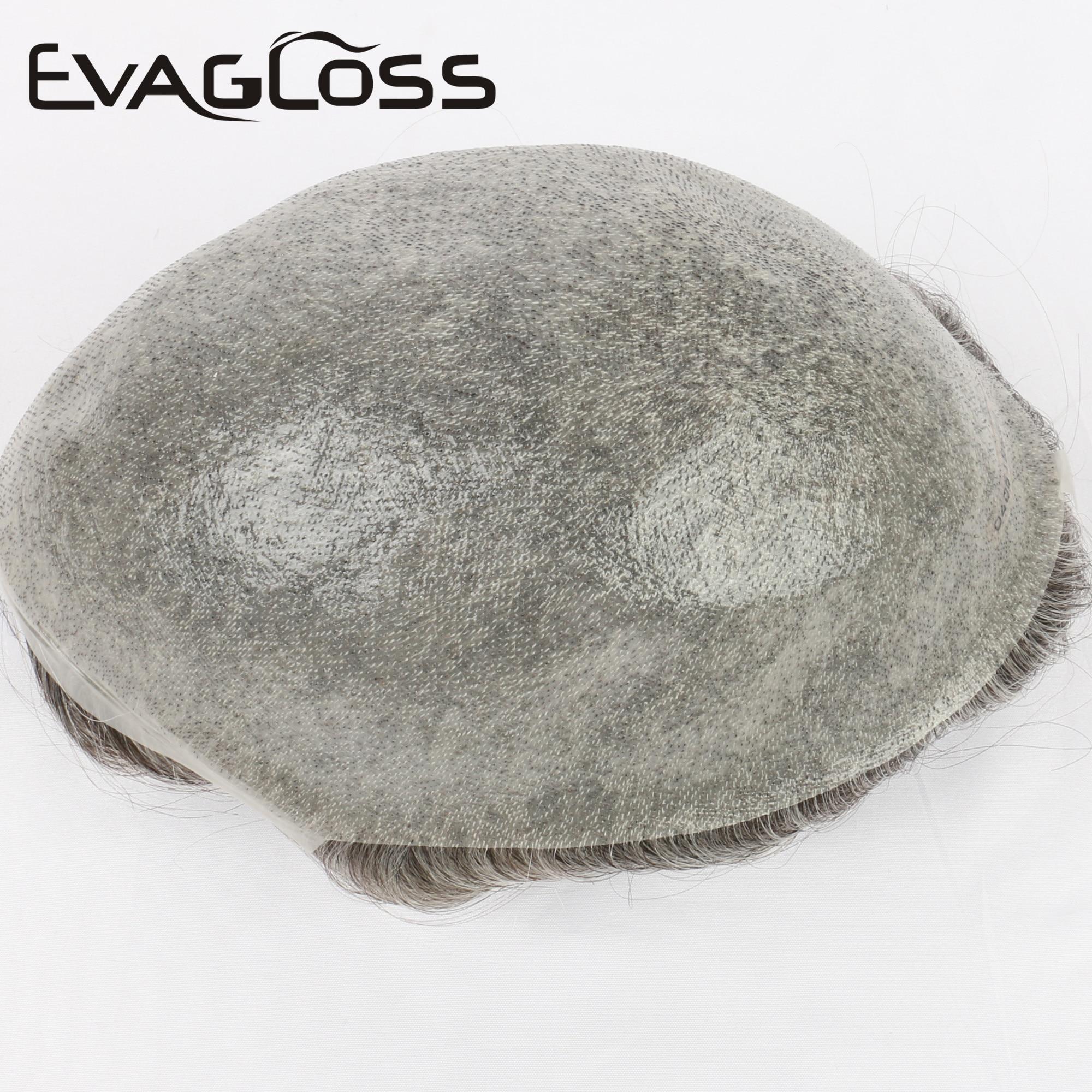 EVAGLOSS 0.02-0.04mm Super Thin Skin Men Hair Wig Natural Human Hair Toupee 8*10