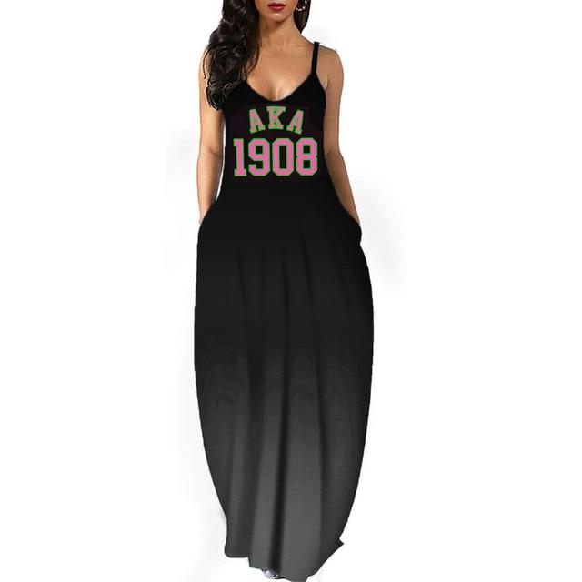 Alpha Kappa Alpha 1908 Dress Fashion printed gradient V-neck strap Dress