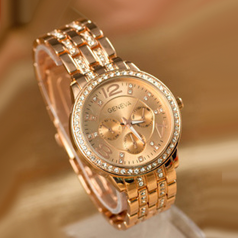 Geneva Watches Fashion Women Watches Rose Gold Women's Watches Crystal Quartz Watch Stainless Steel Reloje Mujer Womens Watches
