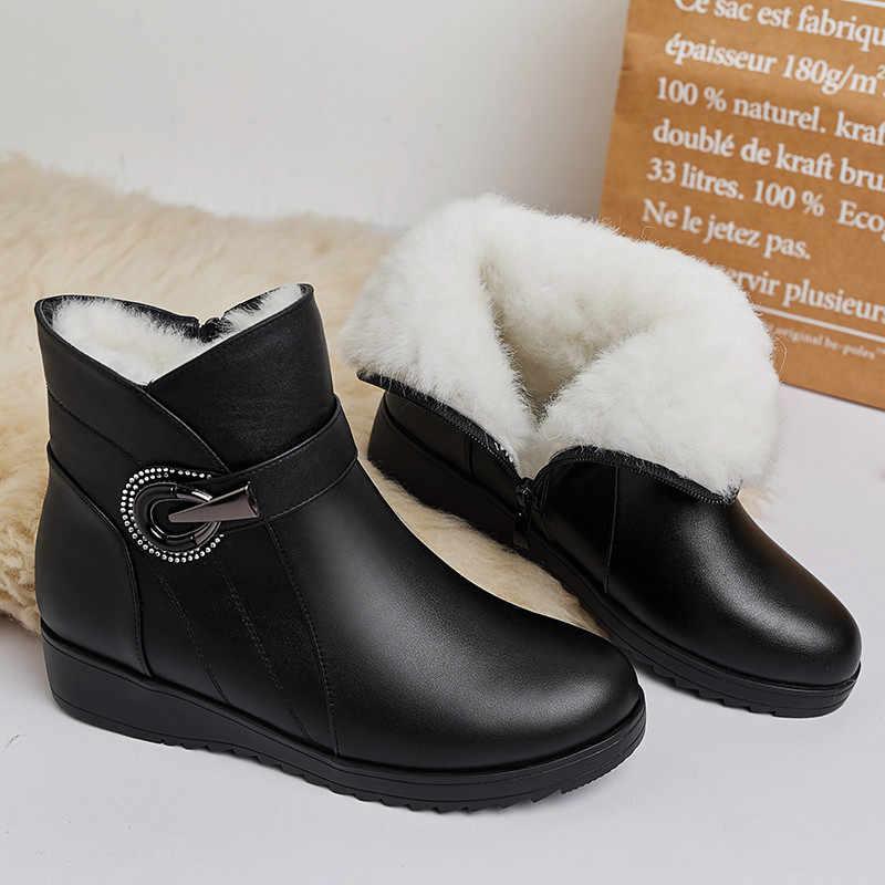ASUMER 2020 yeni yarım çizmeler kadınlar için yuvarlak toe zip sıcak kar botları tutmak rahat bayanlar doğal koyun yünü kışlık botlar